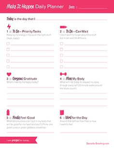 free make it happen daily planner printable daily planner printable planner pages weekly planner
