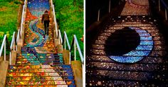 Tiled stairs glow in the dark when the sun goes down.   The 16th Avenue Tiled Steps project is an amazing community-led project in San Francisco. Friends and neighbors got together to cover the 163 steps at 16th and Moraga with a beautifully colorful tile mosaic. And as if this isn't amazing enough, just wait until the sun goes down!