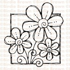 awesome Digital stamp  Doodled Flower by BirdieBrown on Etsy...