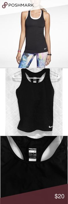 NIKE PRO COMPRESSION RACERBACK TANK ♀️ Never worn. Too small on me. Size Women's Medium. Excellent condition. Scoop neckline. Pullover styling. Sleeveless; racerback. Dri-FIT. Hits at hip. Polyester/spandex. Machine washable. Color: black Nike Tops Tank Tops