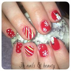 Red Christmas design gel polish on natural nails all hand painted