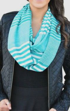 Turquoise Stripe Infinity Scarf