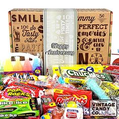 HAPPY ANNIVERSARY GIFT FOR MEN OR WOMEN - Fun, Unique & Tasty Candy Gift For Anniversary Celebration Year - PERFECT for Family, Friend, Couple, Associate, Co-Worker - Him or Her (65 Pieces) Leather Anniversary Gift, Anniversary Gifts For Him, Happy Anniversary, 30 Gifts, Candy Gifts, Unique Gifts, Personalized Candy, Vintage Candy, Tasty