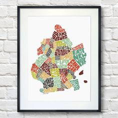 BROOKLYN Typography Map Art Print  -comprised of hand drawn NEIGHBORHOOD NAMES  -SIGNED PRINT from my original City Map Typography series    All of my