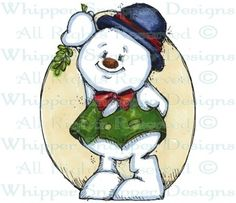 Snowman & Mistletoe - Snowmen Images - Snowmen - Rubber Stamps - Shop