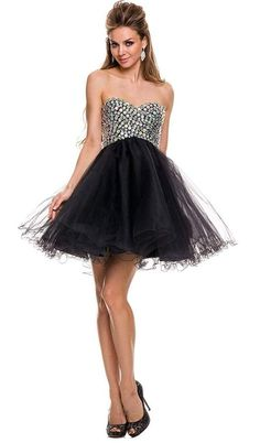 Wow everyone in this sophisticated dress by Nox Anabel 6010. Short strapless beaded cocktail dress. This features a strapless sweetheart bodice covered in sparkly beads, beaded back, short flirty skirt with ruffled edges, and a lace-up back. With this dress by Nox Anabel you will definitely make a statement in every occasion.