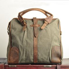 "Vintage Handmade Antique Leather Canvas Briefcase / Messenger / 17' Laptop / 13"" 15"" 17' MacBook Bag (1808-Green)"
