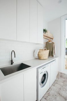 Kyal and Kara's Central Coast Australia home renovation – GetInMyHome Laundry Decor, Laundry Room Design, Laundry In Bathroom, Laundry Cupboard, Laundry Hanger, Laundry Cabinets, Modern Laundry Rooms, Laundry Closet, Bathroom Basin