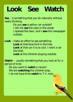 LOOK SEE WATCH: Difference between Look, See and Watch (with Useful Examples) 1