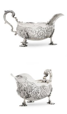 A pair of William IV silver sauceboats by Edward Farrell, London 1834 On three stylised shell feet which are attached to the body by shell terminals, the body profusely decorated with a central foliate and scrolling band, the upper rim with plain border and scalloped edge, with acanthus capped scroll handle, weight 29.44oz.