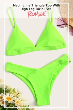 Neon Lime Triangle Top With High Leg Bikini Set Neon Lime Triangle Top With High Leg Bikini Set Summer's Best Pieces Neon Bikinis, Cute Bikinis, Summer Bikinis, Bikini Swimwear, Romwe Swimwear, Bikini Tops, Bathing Suits For Teens, Summer Bathing Suits, Cute Bathing Suits