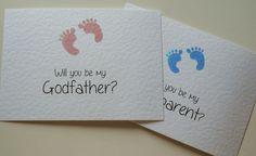 Will you be my cards Godmother/Godfather footprint White Hammer A6 card