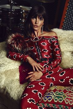 Lily Aldridge looks like a '70s rockstar in luxe prints for S Moda // Photo by David Roemer