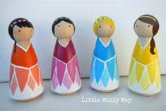 Wooden peg doll set: Springtime Fairies | Little Molly May ...