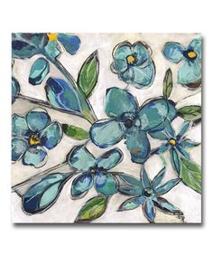 Look at this Aqua Floral Gallery-Wrapped Canvas on #zulily today!