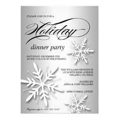 A Holiday Dinner Party Invitation featuring three white snowflakes against a shiny, reflective silver / white background. #Christmas #ChristmasPartyInvitations #HolidayPartyInvitations #Zazzle