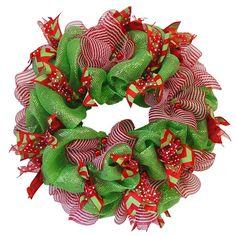 basic-green-mesh-ribbon-wreath. Diy how to.