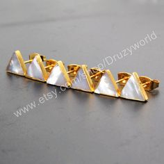 Wholesale Pairs 8mm Triangle Lead Free Real Gold Plated Natural White Shell Stud Earrings Handmade Boho Jewelry Sea Shell Earring CL008 by Druzyworld on Etsy