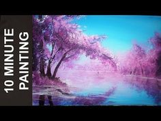 Painting a Cherry Blossom Tree Along the River with Acrylics in 10 Minutes! - YouTube