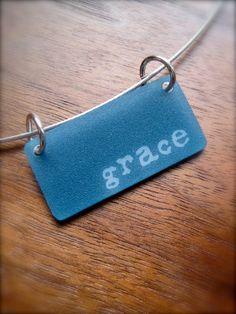 grace - shrinky dink necklace - inspirational jewelry - daily mantra. 14.00, via Etsy.