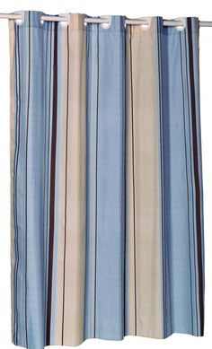 EZ On Fabric Shower Curtain With Built In Hooks, Blue U0026 Tan Stripes