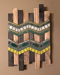 My shop: mosaic chevron pallet art wood mosaic, mosaic wall art, mosa Wood Mosaic, Mosaic Wall Art, Mosaic Diy, Mosaic Crafts, Mosaic Projects, Wood Wall Art, Mosaic Glass, Glass Tiles, Pallet Art