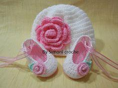 Simoni crochê: Touca e sapatilha de crochê para bebe