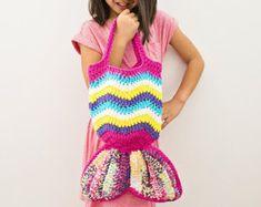 PINK AND PURPLE -  Kids Mermaid Crochet Bag, Mermaid Crochet Purse - Kids Mermaid Crochet Tail, Mermaid Tail Kids, Kids Bag, Kids Purse
