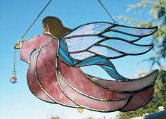 Stained Glass Angel Pink Robe Suncatcher by JuliaLouiseShop, $25.00