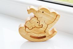 Puzzle Toy - Wooden Puzzle elephant - Educational toys - Wooden Swing - Kids…