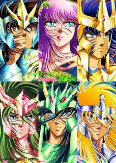 Os Cavaleiros do Zodíaco - Armaduras divinas: Seiya, Ikki, Shun, Shiryu, Hyoga e Saori