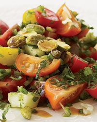 Turkish Tomato Salad with Fresh Herbs - Best Fast Recipes Ever from Food & Wine (Can't wait to taste pomegranate molasses which is boiled pomegranate juice with sugar and lemon juice.