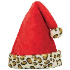 Santa Hat with Animal Print Cuff   Wally's Party Factory #Christmas #Costume #SantaHat