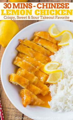 Chinese Lemon Chicken is the classic Chinese takeout recipe cooked with coated chicken breast in a sweet and sour lemon sauce in just 30 minutes. Chinese Honey Chicken, Honey Sesame Chicken, Orange Chicken, Lemon Sauce For Chicken, Garlic Chicken, Baked Chicken, Cracker Chicken, Peanut Chicken, Keto Chicken