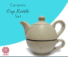 A unique combo of ceramic cup & kettle set. Make your tea parties special. #ceramic #HandmadeItems ##CeramicKettle #TeaSet