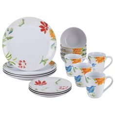 Add a touch of spring to your meals with the BonJour Dinnerware Al Fresco 16-Piece Porcelain Stoneware Dinnerware Set, available at the Food Network Store.