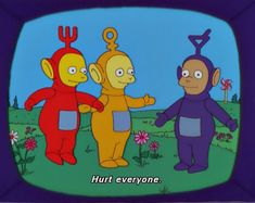 simpsons making fun of teletubbies Bedroom Wall Collage, Photo Wall Collage, Cartoon Memes, Funny Memes, Funny Pics, Cartoon Profile Pictures, Indie Kids, Retro Aesthetic, Reaction Pictures