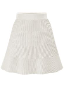 Knit A-Line White Skirt