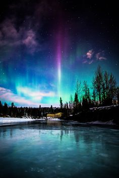 A purple flame stands out among the Aurora Borealis rippling across the night sky above the Elbow River in Bragg Creek, Alberta, Canada. Beautiful Sky, Beautiful World, Beautiful Landscapes, Beautiful Places, Cool Pictures, Beautiful Pictures, Travel Pictures, Amazing Nature, Night Skies
