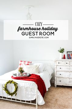 Cozy Farmhouse Holiday Guest Room + Favorite Cozy Bedding | simplykierste.com #ad #bhglivebetter @bhglivebetter_ #betterhomesandgardens