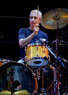 Rolling Stones drummer, and original band member Charlie Watts performs during the opening night of the Stones U.S. tour in Boston, Mass. Tuesday, Sept. 3, 2002. (AP Photo/Winslow Townson)
