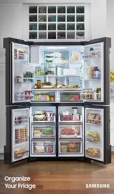 Counter-Depth Flex Smart French Door R… Samsung – Family Hub Cu. Counter-Depth Flex Smart French Door Refrigerator With Geek Squad White Glove Experience – Black Stainless Steel – Zoom Kitchen Pantry, New Kitchen, Kitchen Storage, Kitchen Decor, Kitchen Appliances, Kitchen Countertops, Food Storage, Kitchen Ideas, Refrigerator Organization