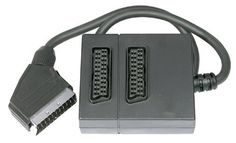 Twin Scart Adapter____2 Way Scart Lead Cable Splitter Adapter Switch Box