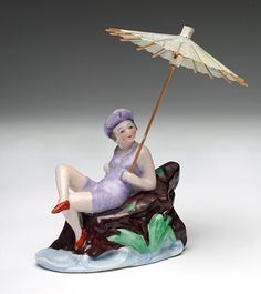 Antique Bathing Beauty China Figurine with Paper Umbrella Made in Germany 1920