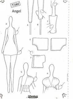 Dress detail ...Artesanato e Cia: Boneca Tilda Anjo - Molde