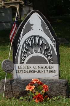 """""""Jaws"""" in Allegheny Cemetery, Pittsburgh, Pennsylvania - there must be a good story behind this. #headstone #tombstone #gravestone"""