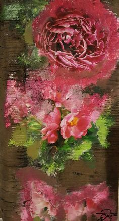 Original Mixed Media Art Collage - Peony # 3 by MixdMediaArtbyDebbie on Etsy