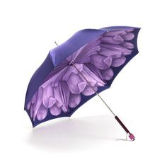 Ladies Flower Umbrella in Violet with Violet Flower from Aspinal of London