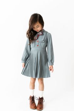 mettime US Fashions Toddler Girls Long Sleeve Loose Elastic Waist Pleated Dress Grey Deer Woods Printed Cotton Skirts