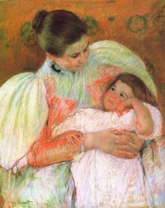 Nurse and Child by Mary Cassatt - Mary Cassatt specialized in mothers and children painting. A brief biography with links to other sources. Edgar Degas, Mary Cassatt Art, Georges Seurat, American Impressionism, Mary I, Berthe Morisot, Oil Painting Reproductions, Renoir, Claude Monet